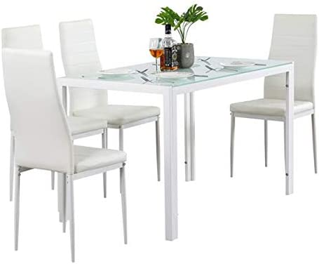 SUOTENG 5 Piece Dining Set GlassTable and 4 Leather Chair for Kitchen Dining White Dining Room, Kitchen, Dinette, Compact Space/Glass Table Top