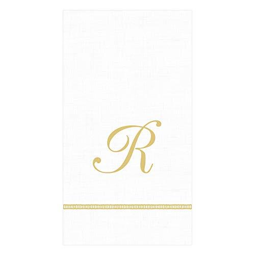 - Caspari Hemstitch Script Paper Guest Towel Napkins in Letter R, 30 Napkins Included