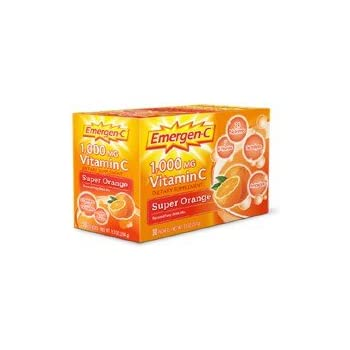 Emergen-C Vitamin C Fizzy Drink Mix, 1000 mg, Super Orange, 0.3 Ounce Packets 30 packets.