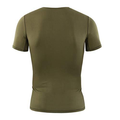 Amlaiworld Skin Rapide Manches Courtes Fitness Séchage Hommes Serré Vert T shirt Tops Musculation Blouse rzw40rZaq