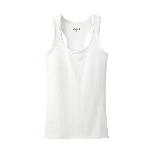 Women's Summer Solid Vest Tops Cotton T Shirt Solid color White