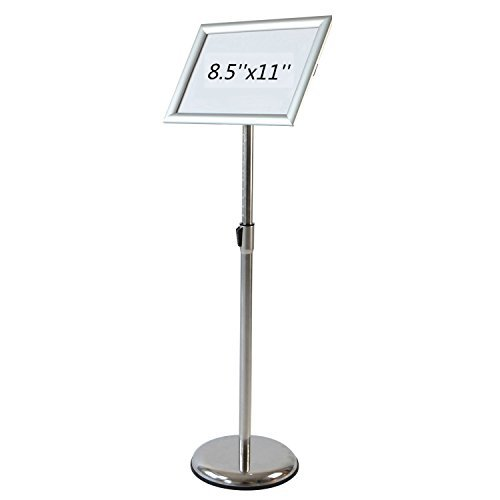 Pedestal Sign Holder Floor Stand w/Telescoping Post & Easy Open Poster Frame for 8.5x11 inches Paper Size, Both Vertical and Horizontal View