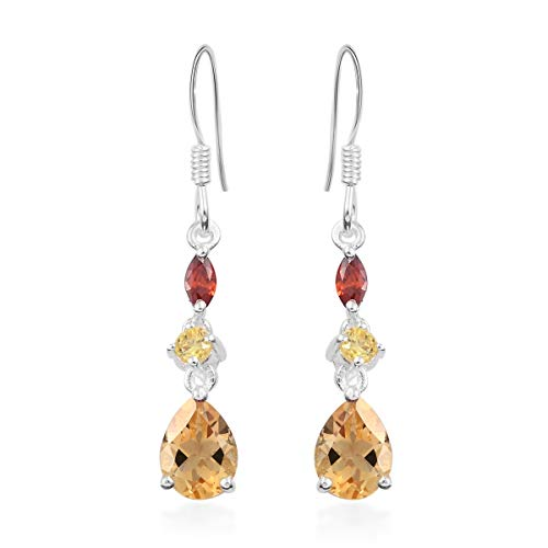 925 Sterling Silver Pear Citrine Dangle Drop Earrings Jewelry for Women Cttw -