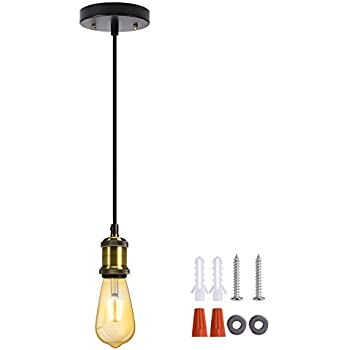 Vintage Mini Pendant Light JACKYLED Single Socket E26/ E27 Base Black Woven Fabric Cord Hanging  sc 1 st  Amazon.com & Canopy Kit White - Convert your Home Concept Plug in Swag to a ...