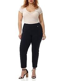 REKUCCI Pantalones Tobilleros de Mujer de con Soporte Abdominal (Tallas Grandes)