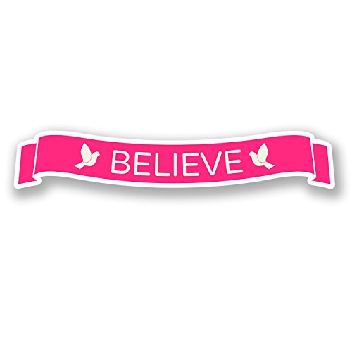 2 x Believe Pink Cancer Awareness Stickers