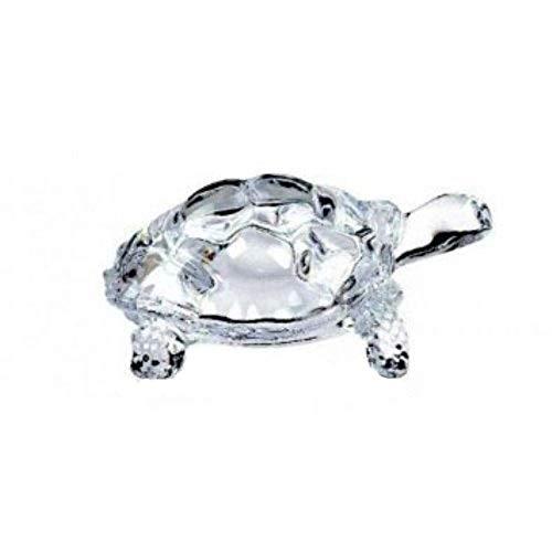 King International Chinese Feng Shui Glass Tortoise | Vastu Turtle | Large 12 cm, 160 g- for Prosperity Success & Long Life FENG Shui Tortoise Turtle Glass Statue Lucky Gift of Good Health (Feng Shui Glass)
