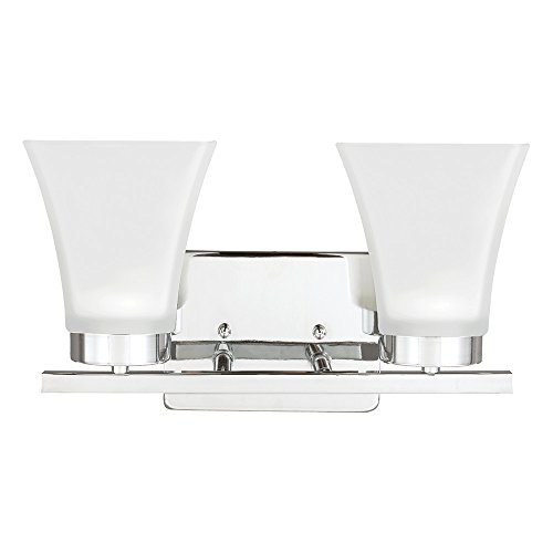 Sea Gull Lighting 4411602-05 Bayfield Two-Light Bath or Wall Light Fixture with Satin Etched Glass Shades, Chrome Finish