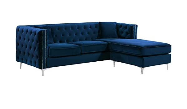 Amazon.com: Meridian Furniture 2 Piece Jesse Velvet ...