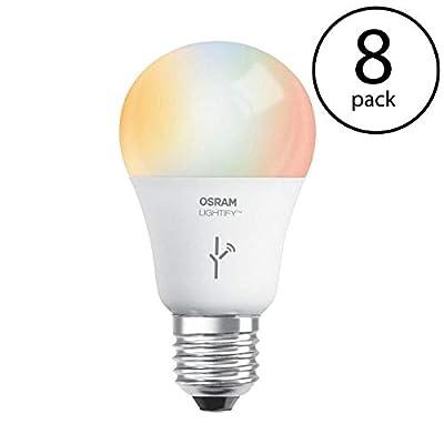 Sylvania Osram Lightify 60W A19 Warm W/D/RGB Smart LED Light Bulb (Needs Hub) (8 Pack)