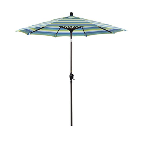 California Umbrella 7.5′ Round Aluminum Market Umbrella, Crank Lift, Push Button Tilt, Bronze Pole, Sunbrella Seville Seaside Review