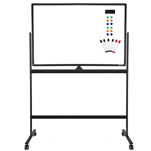 Mobile whiteboard Magnetic White Board - 48 x 32 inches Double Sided Rolling Large Reversible Dry Erase Board Easel Free Standing on Wheels with Aluminum Frame and Stand.