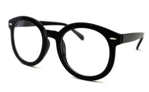 Vintage Retro Large Big Circle Round Nerd Glasses Clear Lens - Big Nerd Glasses Black