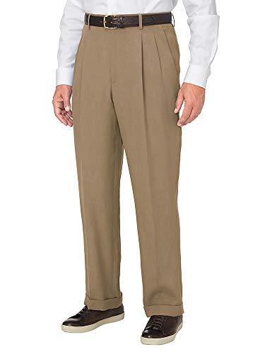 Paul Fredrick Men's Tencel \ Linen Pleated Pant Khaki 44