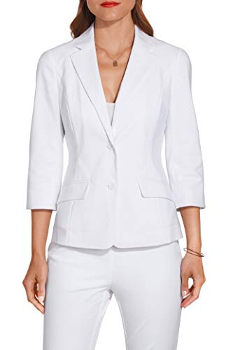 (Women's Everyday Stretch Twill Double-Button Blazer Pure White 10)