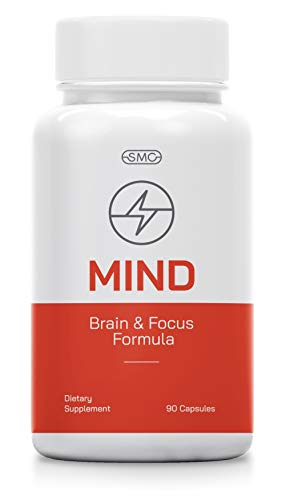 Mind Brain and Focus Formula 90 Veggie Capsules with All Natural Herbal Vitamins with DHA, L-Glutamine, DMAE Much More. Ultimate Brain Supplement for Concentration, Memory, Problem Solving