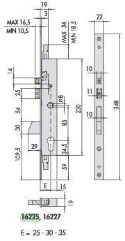 Cisa 16225-35 Serratura S//C.Elettrica