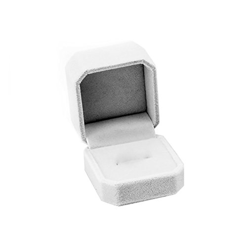 Kanggest Velvet Jewelry Box Octagonal Shape Lovely Display Engagement Ring Earrings Christmas Gift Box Jewelry Case (Gray) (Octagonal Tower)