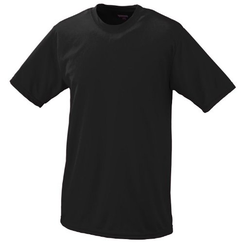 Black T-shirt Youth Practice (Black, Youth XL Performance Wicking Moisture Management Short Sleeve Cool & Comfortable Crewneck Shirt)