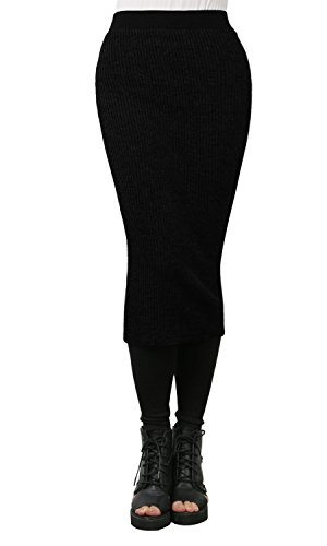 ililily Women Bodycon Fit Midi Length Stretch Ribbed Knit Pencil Skirt Leggings, Black, US-Small