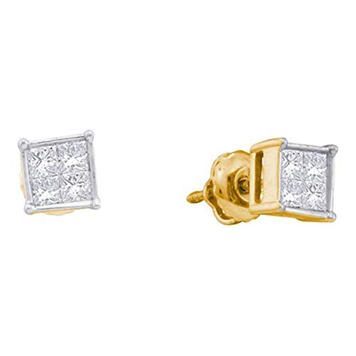 - Aienid 14K Yellow Gold 0.25Ct Diamond Invisible Earrings for Women