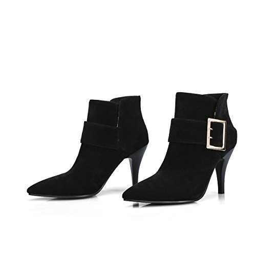 Reißverschluss Elegant Damen Absatz Stiefeletten Heels Boots mit Spitze Ankle YE Schuhe und Stiletto High 9cm Schwarz zwaOaqx