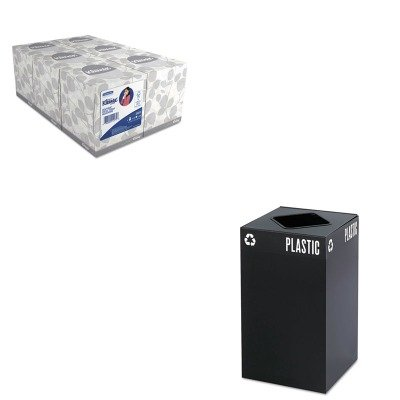 KITKIM21271SAF2981BL - Value Kit - Safco Public Square Recycling Container (SAF2981BL) and KIMBERLY CLARK KLEENEX White Facial Tissue (KIM21271)