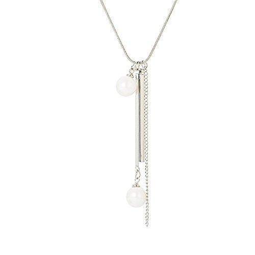 Women's Pearl Station Necklace Simulated Beads Long Sweater Chain Silver Plated For Girls,Ladies Go Out to Decorate