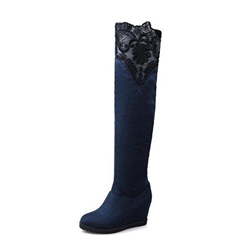 AllhqFashion Mujeres Puntera Redonda Sólido Caña Alta Cuña Botas con Encaje Azul