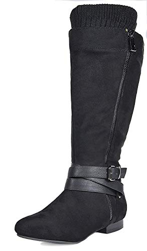 DREAM PAIRS Women's Beltran Black Flat Slouch Knee High Boots Size 9.5 M -
