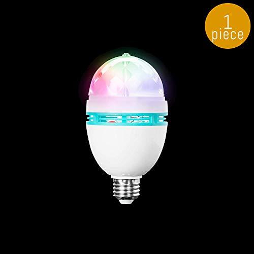 Lumistick LED Rainbow Disco Ball Bulb | Light Up Rotating Multicolor Flashing Light Glowing Night Party Lamp (1 Bulb)