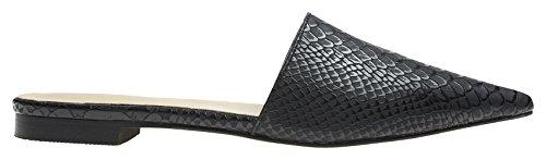 Black Slide Flat Toe Chic Dress Womens Annakastle Python Pointy Mule W8xFTAwWUq