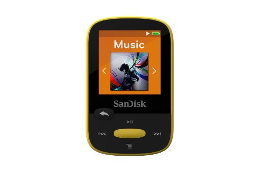 SanDisk 8GB Clip Sport MP3 Player, Yellow - LCD Screen and FM Radio - SDMX24-008G-G46Y