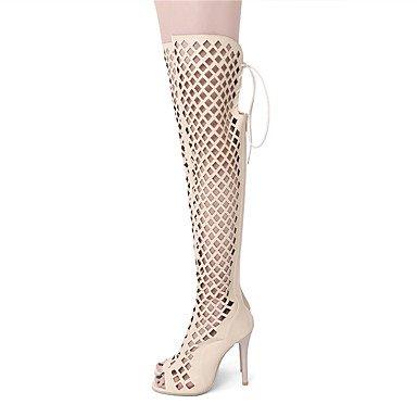 LFNLYX Sandalias mujer Primavera Verano Otoño otros PU Parte & vestido de noche casual Stiletto talón Lace-up de hueco negro Beige almendra Beige