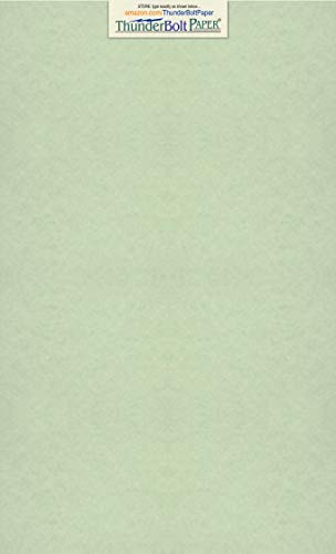(50 Light Green Parchment 60# Text (=24# Bond) Paper Sheets - 8.5 X 14 inches Stationery Paper Colored Sheets Legal Size - 60 Pound is Not Card Weight - Vintage Colored Old Parchment Semblance)