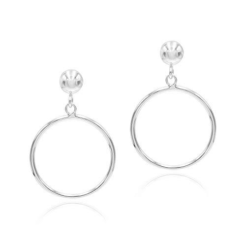 Sea of Ice Sterling Silver Open Round Hoop Drop Dangle Earrings 5mm Bead Post for Women, 20mm Diameter