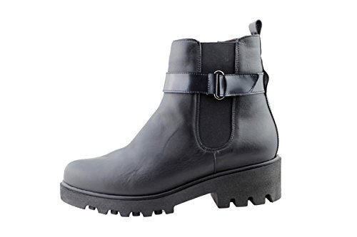 shoes boot Negro comfort leather Black Woman 175928 PieSanto Ankle wide axqEnFwvH