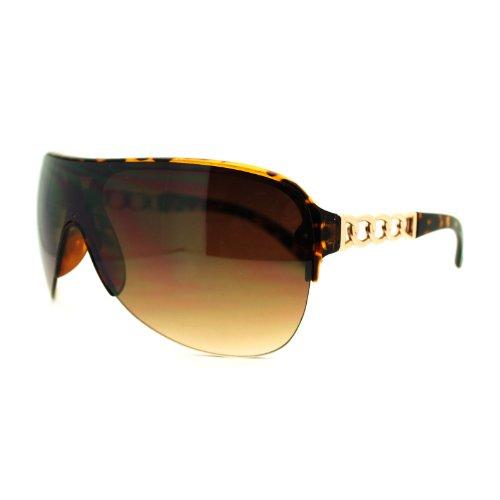 Tortoise Gangster Chain Temple Large Shield Half Rim Aviator Sunglasses (Gangster Woman)
