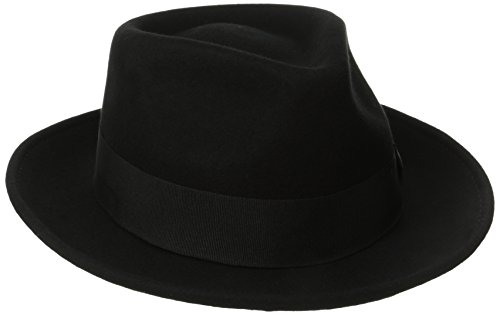 Black Felt Fedora - Scala Classico Men's Crushable Water Repelant Wool Felt Fedora Hat, Black, Large