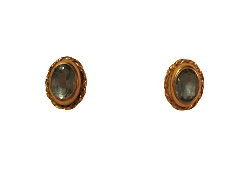 Trifari Pierced Earrings - Blue Topaz, 14k Gold Post, Petite Pierced Stud Earrings