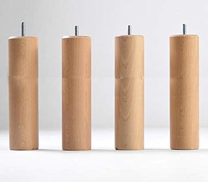 KOSMI - Juego de 4 patas de madera para atornillar altura ...