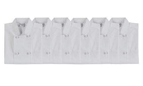 Chef's Pride Unisex Chef Coat - Double Breasted Long Sleeve Chef Jacket with Cloth Knotted Buttons- Poly Cotton Blend (6 pack x large, white) by Chefs Pride