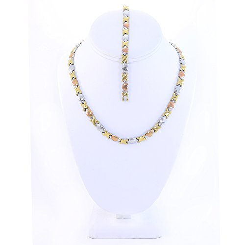 18' Hugs (Hugs and Kisses Stainless Steel Stampato Necklace and Bracelet Set 3 Tone 18'')