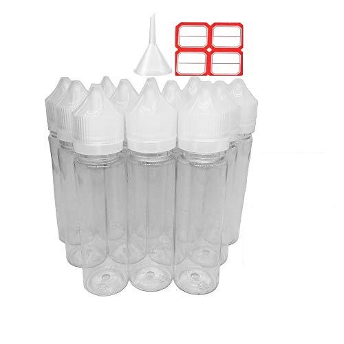 60ml x 12 pack Liquid bottle with funnel label PET Transparent Plastic unicorn Squeezable dispensing dropper Gorilla empty bottle Childproof Caps for oil ink (2 oz white) (Best Emulsion Paint Sprayer)