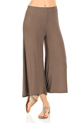Rayon Knit Pant - iconic luxe Women's Elastic Waist Jersey Culottes Pants Medium Mocha
