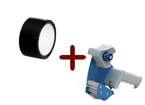 Colored Packing Tape Black Box Shipping 2'' 110 Yards 6 Rolls 2 Mil + Free 2 Inch Tape Gun Dispenser