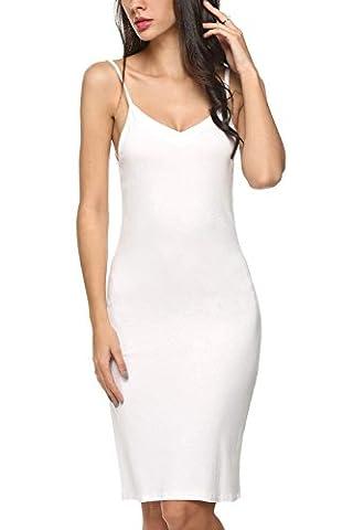 Avidlove Women Full Slips Cotton Blend V Neck Straight Dress Nightwear White (FBA) XXL