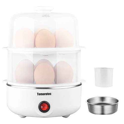2-tier Egg Cooker Large 14 Eggs Capacity, Tomorotec Eletric Rapid Egg Maker, Auto Off for Hard Boiled Eggs, Poached Eggs, Steamed Vegetables, Seafood, Dumplings (Egg Steam)