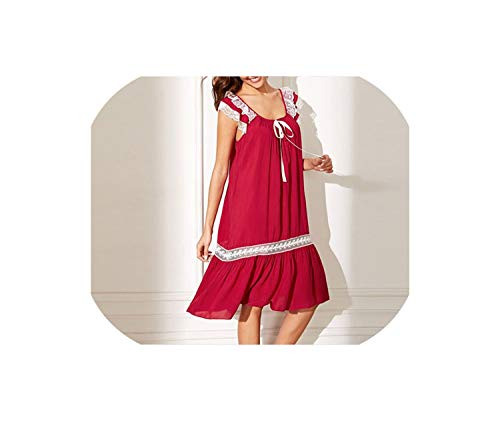 Lady Red Sleeveless Scoop Neck Floral Lace Insert Knot Ruffle Hem Night Dress Casual Sleepwear,Red,L ()