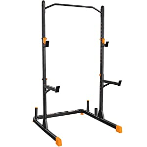 GRIND Fitness Alpha2000 Squat Stand, Exercise Rack with Barbell Holder and Weight Storage Pegs, Lifting Spotter Arms, 1000 lbs Weight Limit
